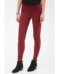 Forever 21 Paneled Faux Suede Leggings - Lyst