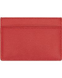 Saint Laurent Red Leather Classic Card Holder - Lyst