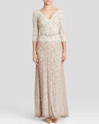 Tadashi Shoji Gown - Three-Quarter Sleeve Lace Belted - Lyst