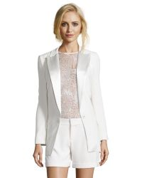 Haute Hippie Antique Ivory Woven Single-Button Long Tux Blazer - Lyst