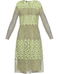 Burberry Prorsum - Long-sleeved Floral-lace And Macramé Dress - Lyst