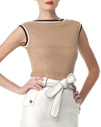 Carolina Herrera Striped-trim Knit Top - Lyst