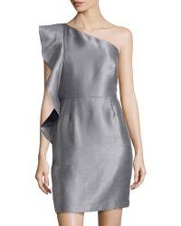 Halston Heritage Ruffle-Sleeve Strapless Dress - Lyst