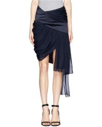 Prabal Gurung Drape Silk Chiffon Satin Trim Skirt - Lyst