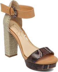 Jessica Simpson Kaelani Straw And Faux Leather Open-Toe Sandals - Lyst