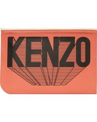 Kenzo Peach Leather Envelope Flap Pouch - Lyst