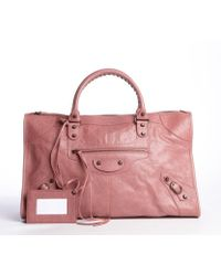 Balenciaga Coral Distressed Lambskin Leather Buckle Detail Velo Satchel Bag - Lyst