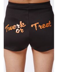 Missguided Imogin Twerk Or Treat Hotpants Black - Lyst