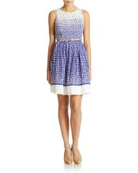 Eliza J Petite Belted Print Fit And Flare Dress blue - Lyst