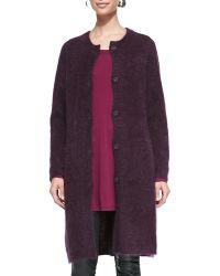 Eileen Fisher Mohair Plush Long Coat - Lyst