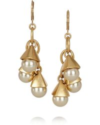 J.Crew Goldtone Faux Pearl Earrings - Lyst