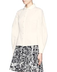 Chictopia - Puff Pleat Sleeve Faille Shirt - Lyst