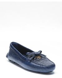 Prada Croc Embossed Leather Stampa Cocco Slip-on Loafers - Lyst