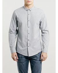 Topman Grey Textured Long Sleeve Smart Shirt - Lyst