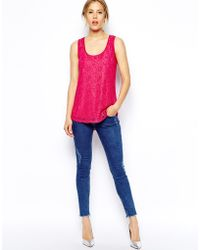 Oasis Pink Lace Tank - Lyst