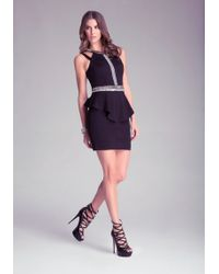 Bebe Embellished Peplum Dress - Lyst