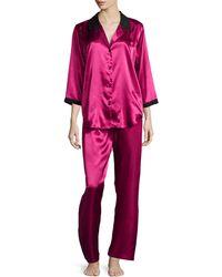 Oscar de la Renta Winter Roses 3/4-Sleeve Pajama Set - Lyst