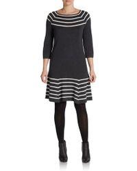 Saks Fifth Avenue Black Label Pointelle-Striped Sweater Dress - Lyst