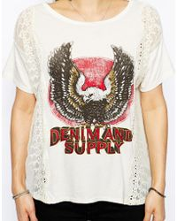 Denim & Supply Ralph Lauren - Denim And Supply By Ralph Lauren T-Shirt With Lace Panels - Lyst