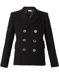 Saint Laurent Double-Breasted Wool Blazer - Lyst