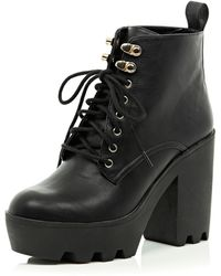 River Island Black Lace Up Cleated Sole Boots - Lyst