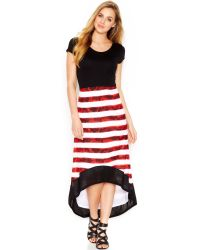 Kensie Black Striped Dress - Lyst