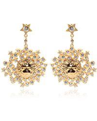 Versus - Rhinestone & Gold Plated Lion Earrings - Lyst