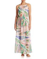 Emilio Pucci Silk Tie-Belt Maxi Dress - Lyst