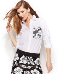 Michael Kors Michael Floral-Sequin Pocket Blouse - Lyst