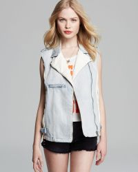 Mink Pink Vest Denim and Faux Leather Superstar - Lyst
