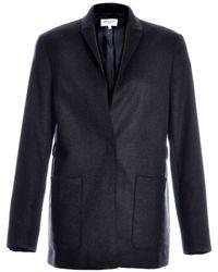 Peridot London Dark Grey Wool Longline Jacket With Pocket Detail By - Lyst