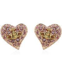 Vivienne Westwood | Tiny Diamante Heart Stud Earrings | Lyst