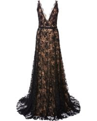 Marchesa Embroidered Chantilly Lace Gown - Lyst