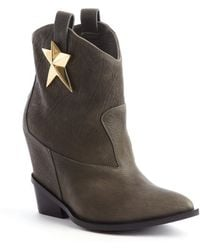 Giuseppe Zanotti Grey Leather Pointed Toe Star Detail Wedge Heel Boots - Lyst