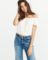 ace362aa5161d2 Lyst - Abercrombie   Fitch Embellished Cold Shoulder Top in Black