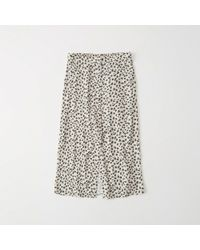 Abercrombie & Fitch - Button-front Leopard Midi Skirt - Lyst