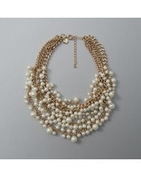 Abercrombie & Fitch - Faux Pearl Cluster Statement Necklace - Lyst
