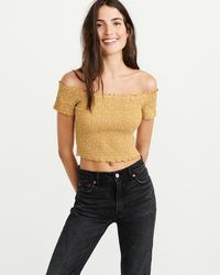 7d3809961cb7a2 Lyst - Abercrombie   Fitch Off-the-shoulder Eyelet Top in Blue
