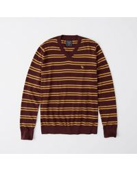 Abercrombie & Fitch - Icon Striped Crew Sweater - Lyst