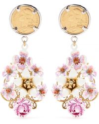 Dolce & Gabbana Crystal-Embellished Enamel Clipon Earrings - Lyst