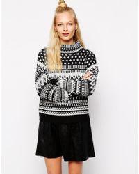 Monki Intarsia High Neck Sweater - Lyst
