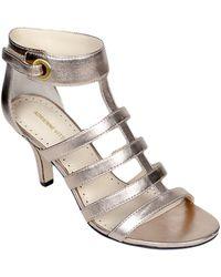 Adrienne Vittadini Goldie Patent Leather Heeled Sandals - Lyst