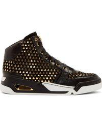 Versace Black Suede Gold Weave High_top Sneakers - Lyst
