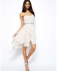 Lipsy Bandeau Prom Dress with Embellished Waist - Lyst