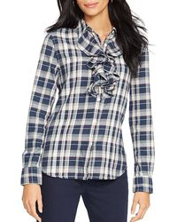 Ralph Lauren Lauren Plaid Ruffled Cotton Shirt - Lyst