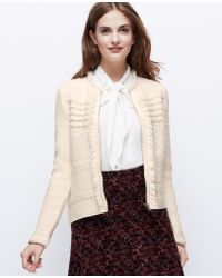 Ann Taylor Petite Fringed Sweater Jacket - Lyst