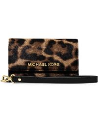 Michael Kors Leopard-print Hair Calf Phone Wristlet - Lyst