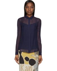 Burberry Prorsum Bright Navy Sheer Striped Silk Chiffon Shirt - Lyst