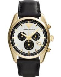 Emporio Armani Unisex Chronograph Black Leather Strap Watch 43Mm Ar6006 - Lyst