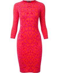 Alexander McQueen Leopard Print Bodycon Dress - Lyst